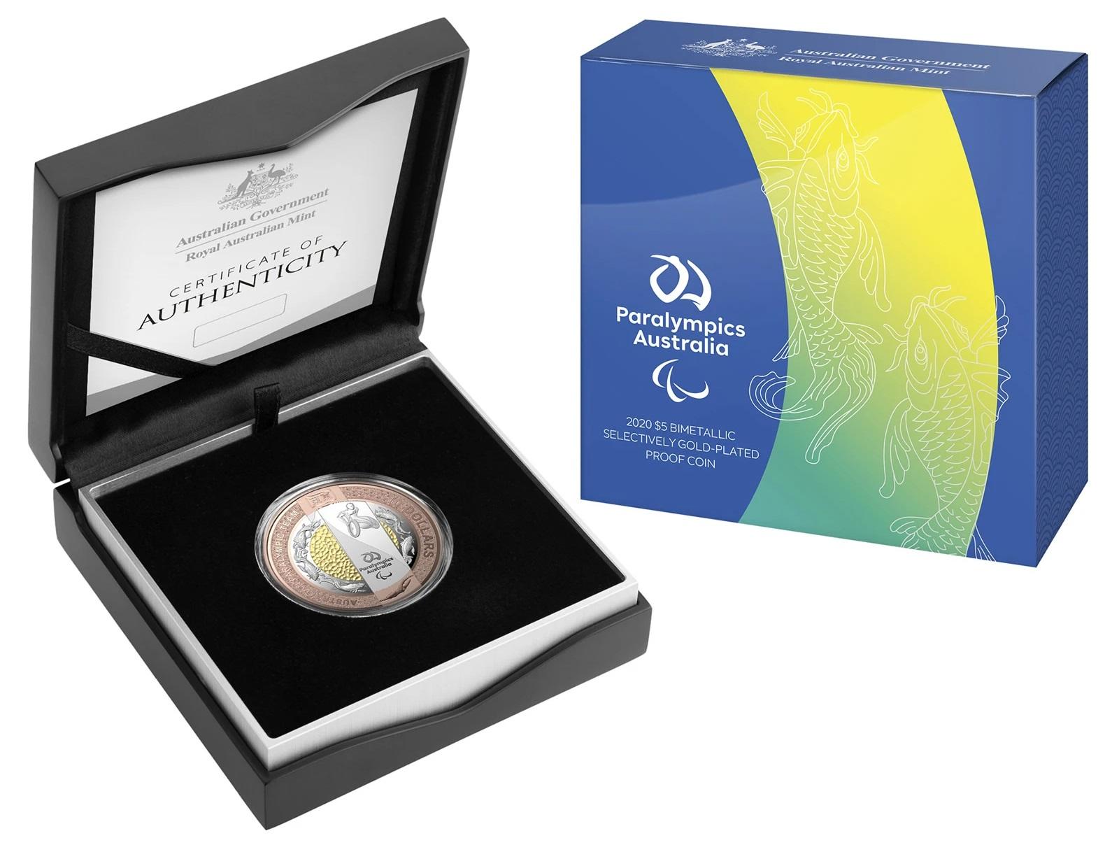 Австралия монета 5 долларов Паралимпийская команда, подарочная упаковка