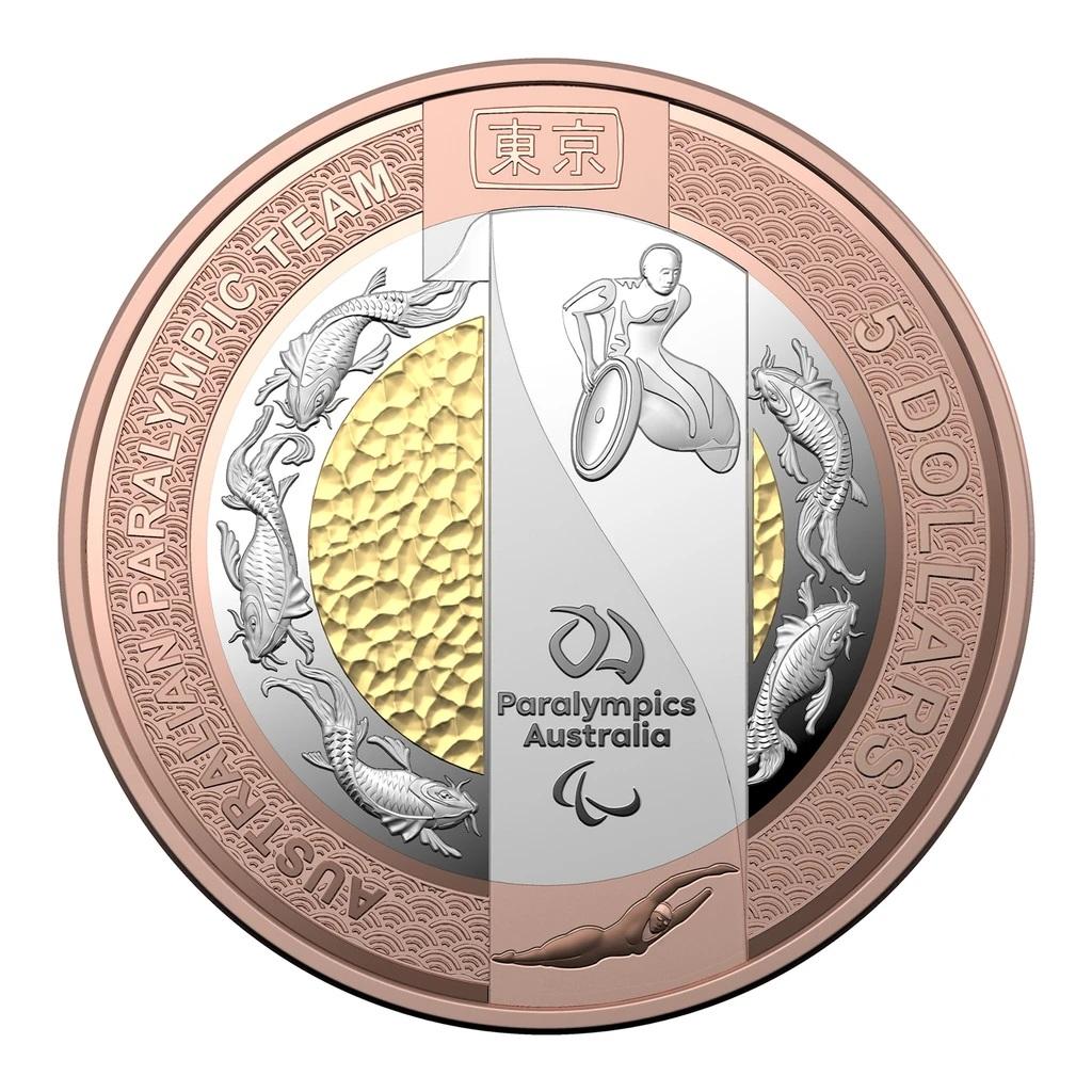 Австралия монета 5 долларов Паралимпийская команда, реверс