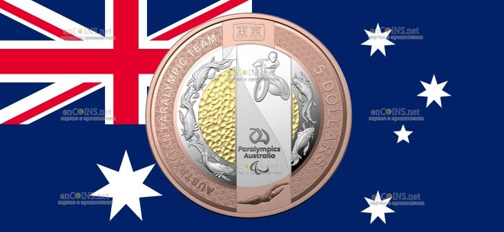 Австралия монета 5 долларов Паралимпийская команда