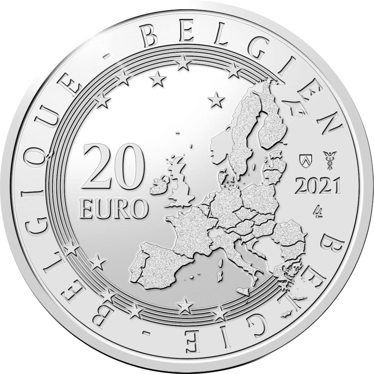 Бельгия монета 20 евро Роджер Равил, аверс