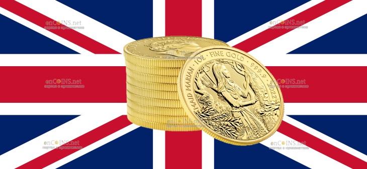 Британия монет 100 фунта Дева Мэриан