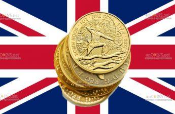 Британия монет 100 фунта Робин Гуд