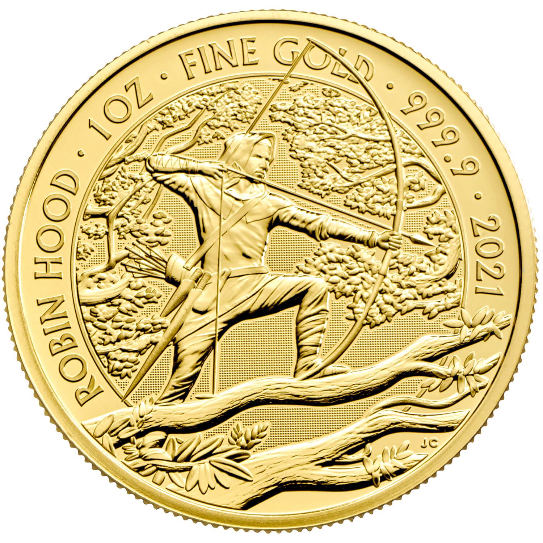 Британия монет 100 фунта Робин Гуд, реверс