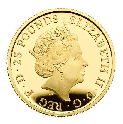 Британия монета 25 фунтов Золотой Стандарт, аверс