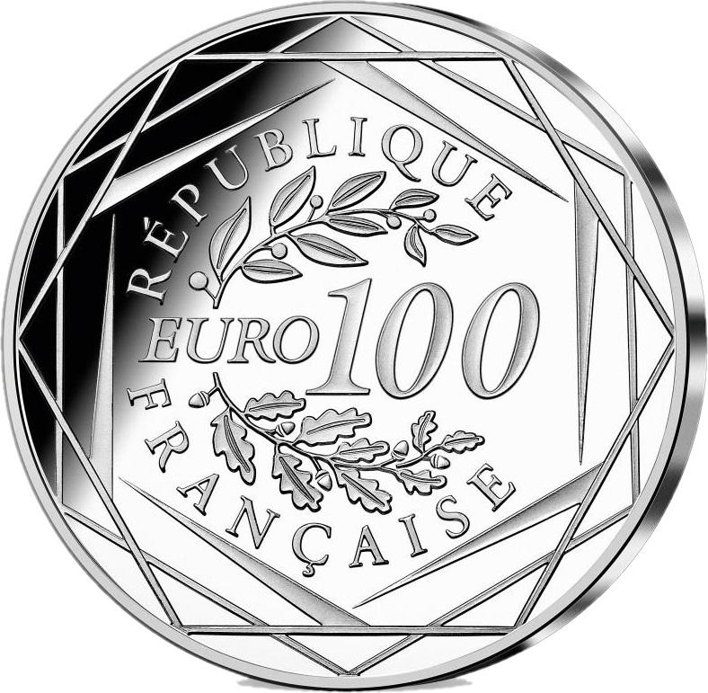 Франция монета 100 евро 2021 год, аверс