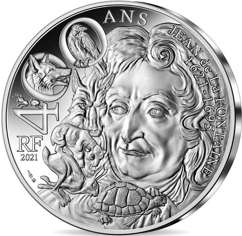 Франция монета 100 евро Жан де Лафонтен, реверс