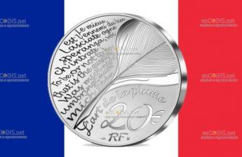 Франция монета 20 евро Жан де Лафонтен