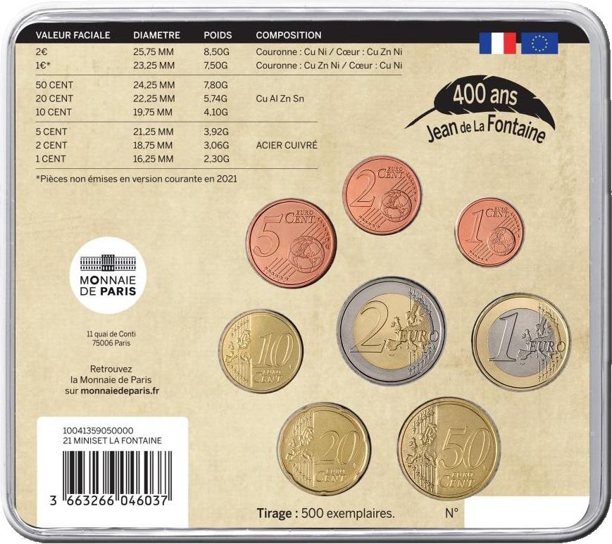 Франция монетный набор 2021 года - Жан де Лафонтен, аверс