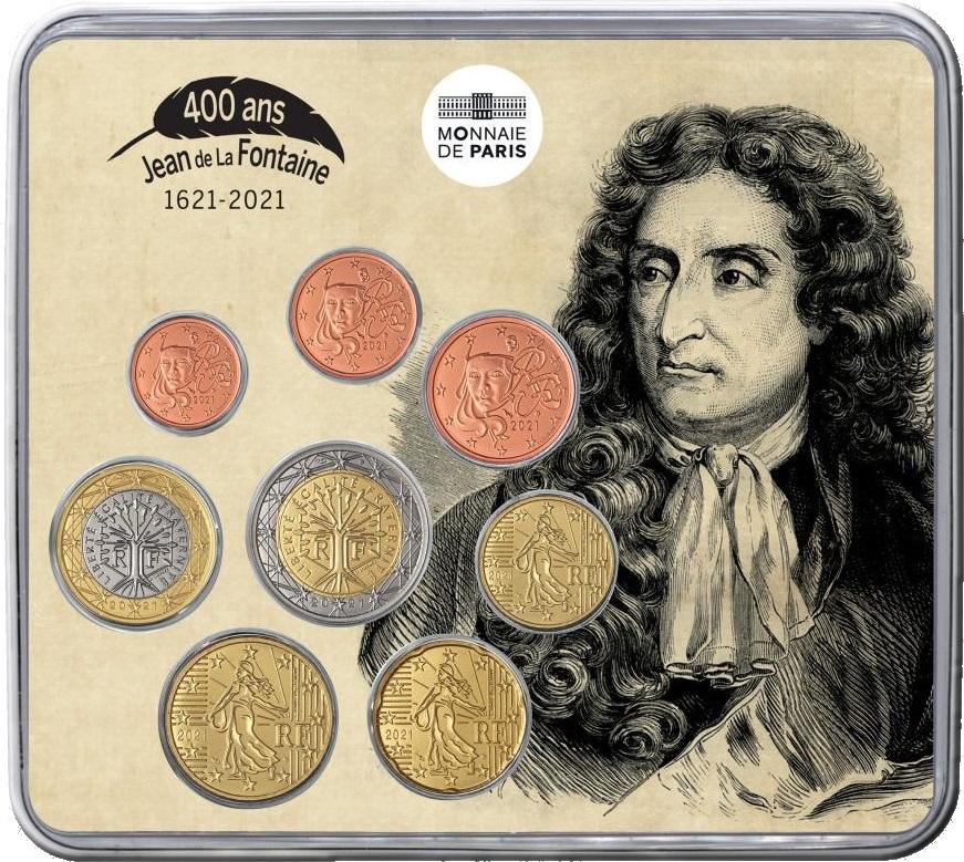 Франция монетный набор 2021 года - Жан де Лафонтен, реверс