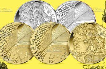 Франция монеты к 400-летию со дня рождения Жана де Лафонтена