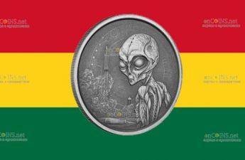 Гана выпускают монету 5 седи Инопланетянин