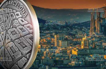 Камерун монета 2000 франков КФА Барселона - взгляд с беспилотника