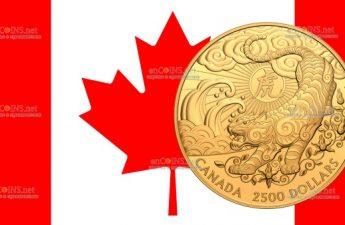 Канада монета 2500 долларов Год Лунного Тигра