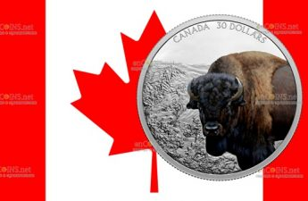 Канада монета 30 долларов Бизон