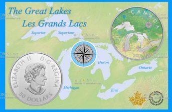 Канада монета 50 долларов Великие озера