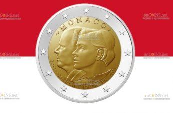 Монако монета 2 евро 10-летие свадьбы принца Альберта и Шарлин Уиттсток