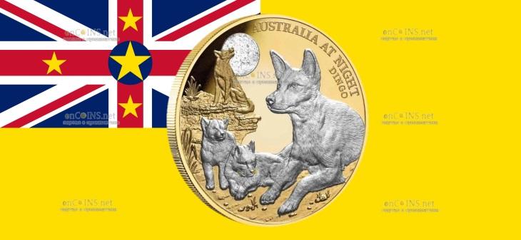 Ниуэ монета 100 долларов Собака Динго