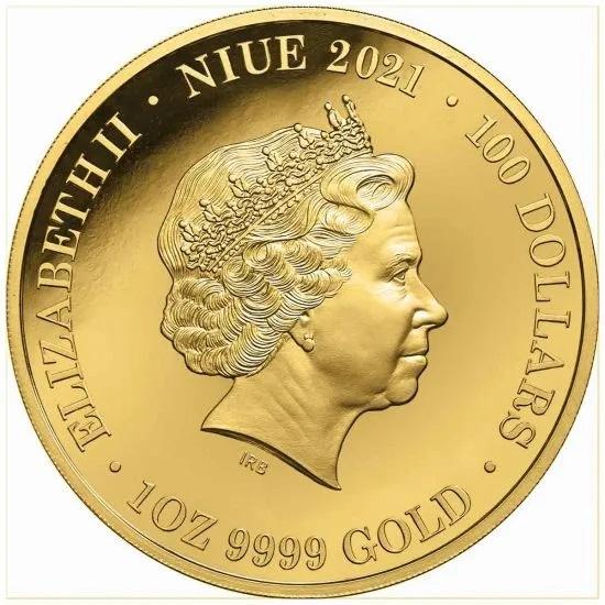 Ниуэ монетау 100 долларов Собака Динго, аверс