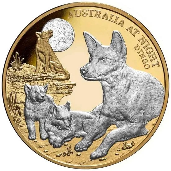 Ниуэ монетау 100 долларов Собака Динго, реверс