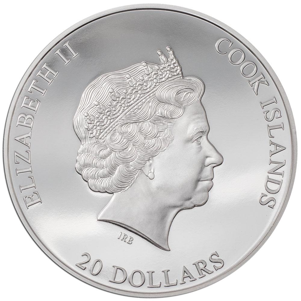 Острова Кука монета 20 долларов 2021 год, аверс