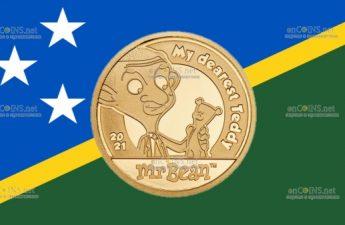 Острова Кука монета 5 долларов Мистер Бин