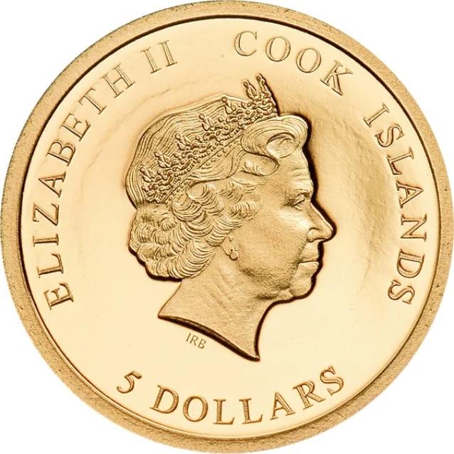 Острова Кука монета 5 долларов Мистер Бин, аверс