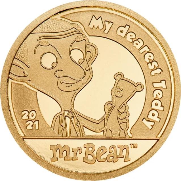 Острова Кука монета 5 долларов Мистер Бин, реверс