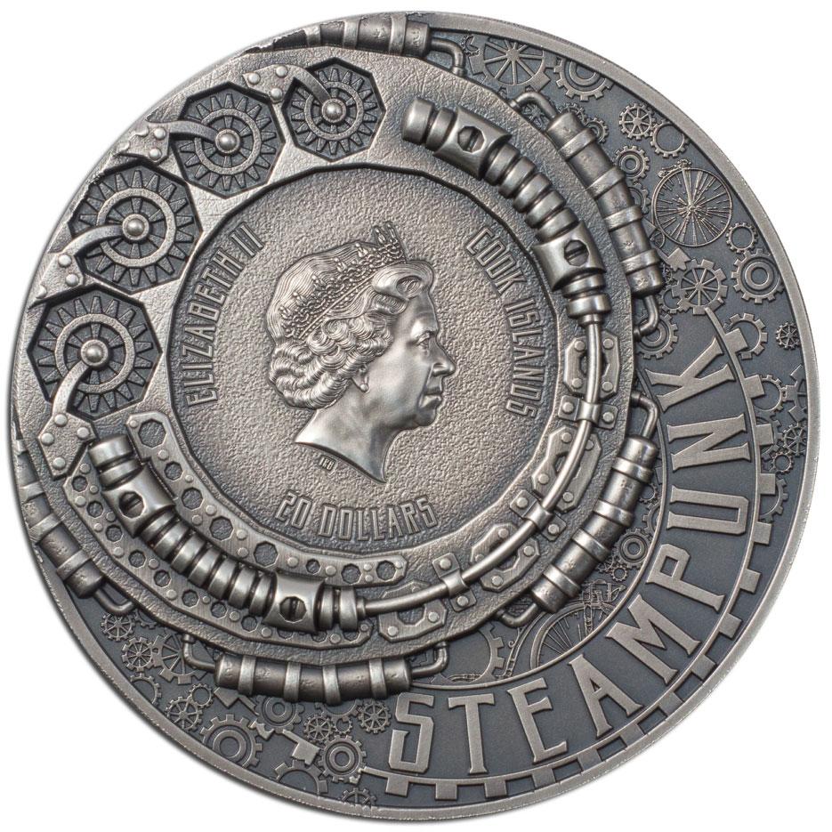 Острова Кука монета 20 долларов STEAMPUNK JETPACK, аверс