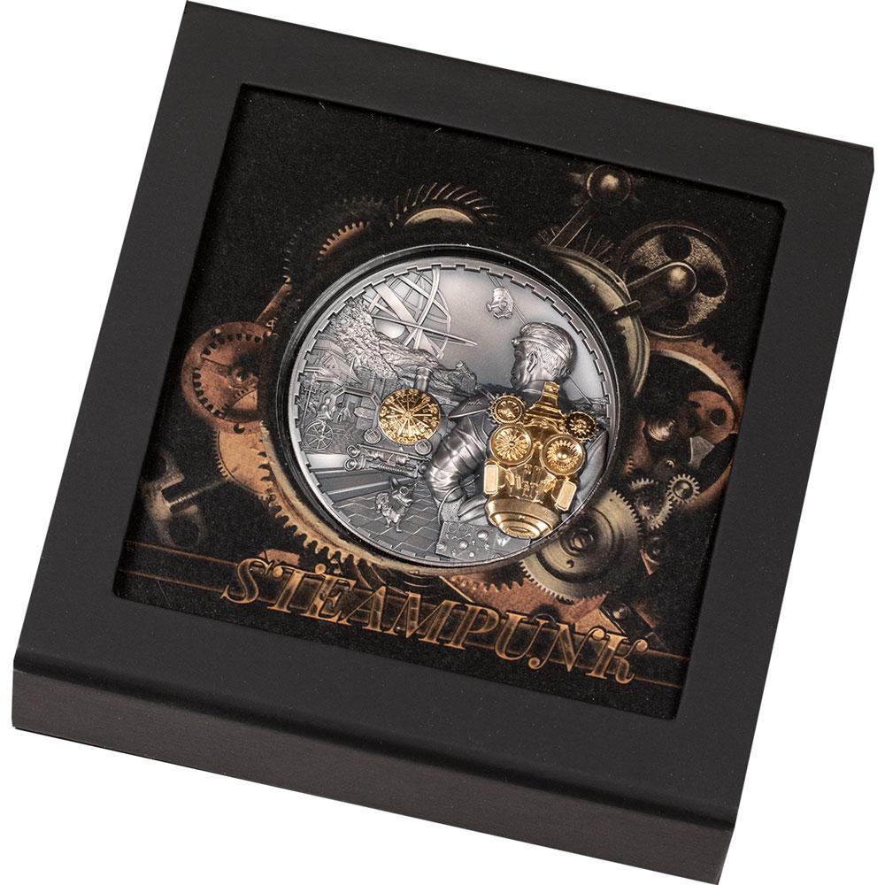 Острова Кука монета 20 долларов STEAMPUNK JETPACK, подарочная упаковка