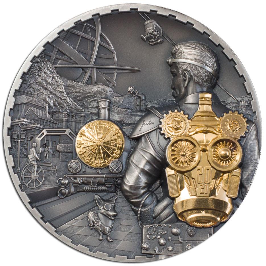 Острова Кука монета 20 долларов STEAMPUNK JETPACK, реверс