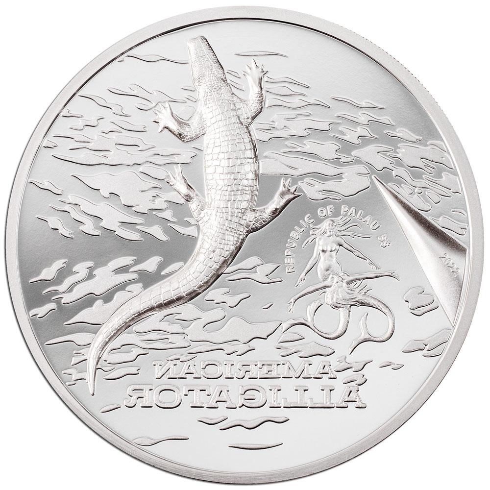 Палау монета 5 долларов Американский Аллигатор, аверс