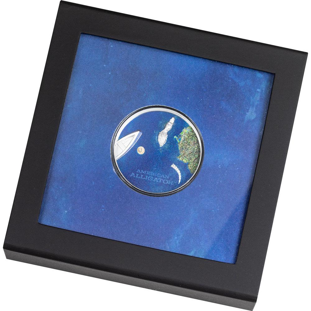 Палау монета 5 долларов Американский Аллигатор, подарочная упаковка