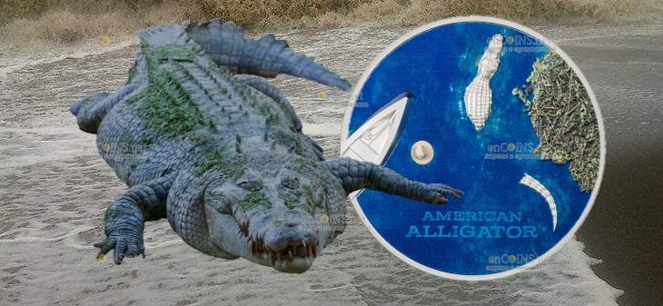 Палау монета 5 долларов Американский Аллигатор