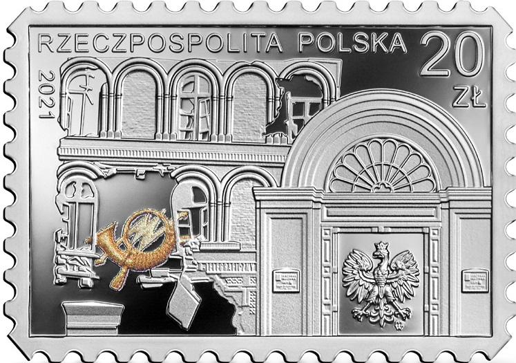 Польша монета 20 злотых Защита Польской почты в Гданьске, аверс