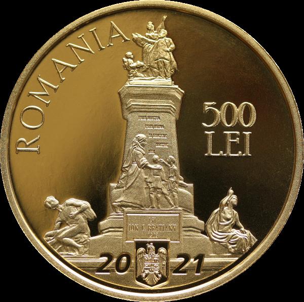 Румыния монета 500 леев Йон Брэтиану, аверс