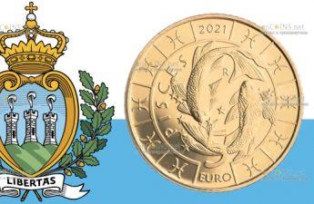 Сан-Марино монета 5 евро, Рыбы