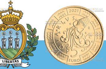 Сан-Марино монета 5 евро Водолей