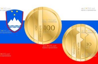 Словения монета 100 евро 30-летие Республики Словения