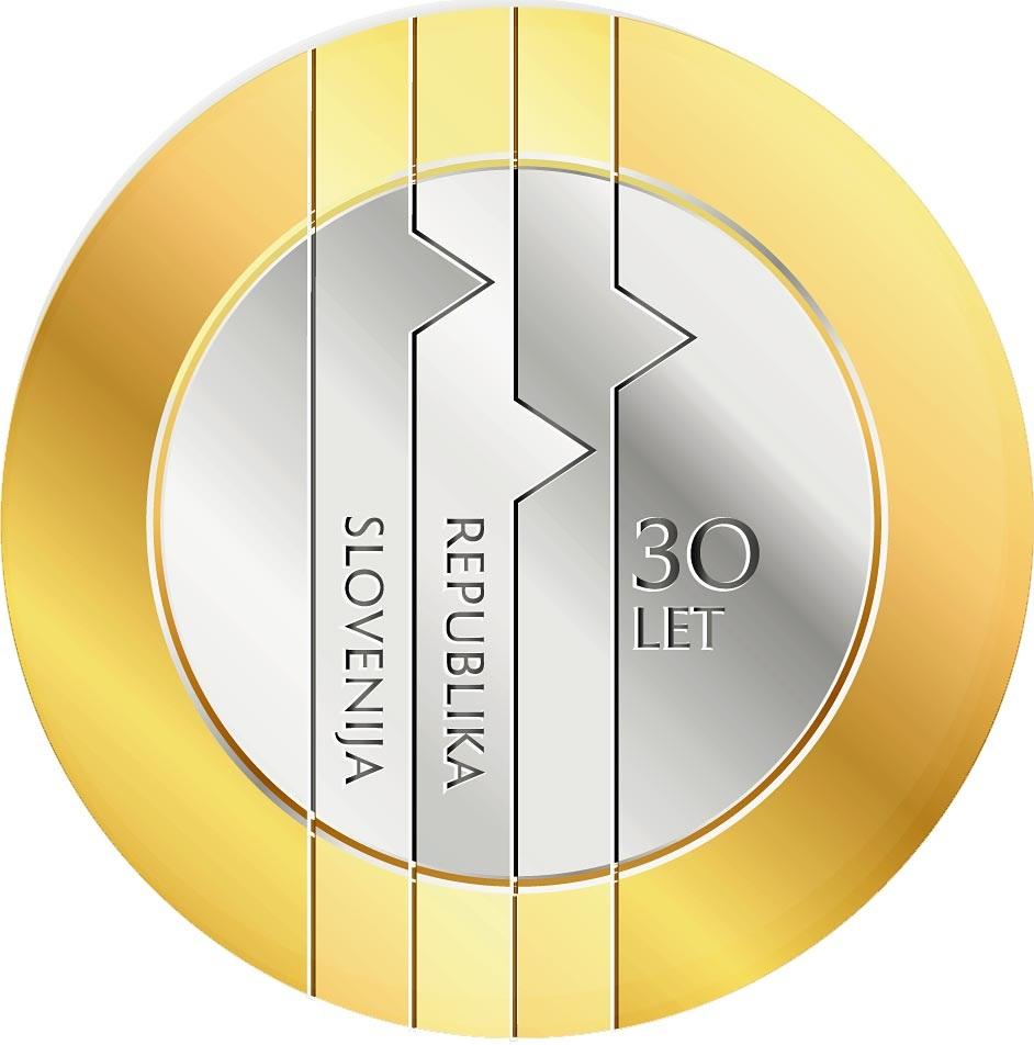 Словения монета 3 евро 30-летие Республики Словения, реверс