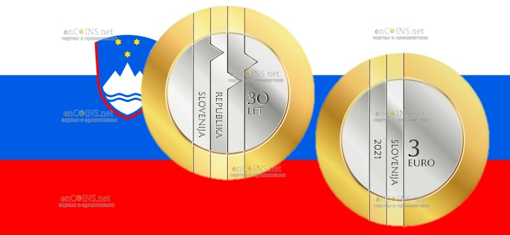 Словения монета 3 евро 30-летие Республики Словения
