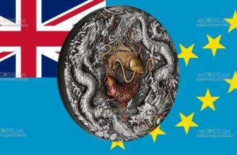 Тувалу монета 2 доллара Двойной дракон и Инь Ян