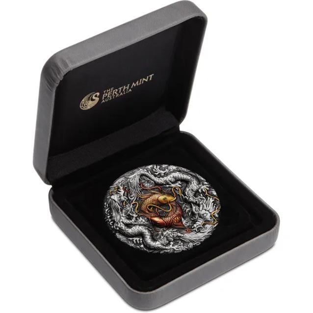 Тувалу монета 2 доллара Двойной дракон и Инь Ян, подарочная упаковка