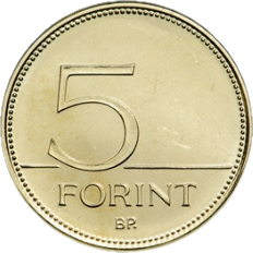 Венгрия серия 5 форинтовых монет - 75 лет назад национальной валюты - форинта, аверс