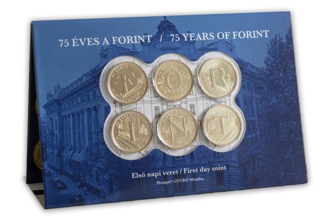 Венгрия серия 5 форинтовых монет - 75 лет назад национальной валюты - форинта, подарочная упаковка