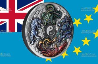 Тувалу монета 5 долларов Китайские древние мифические создания