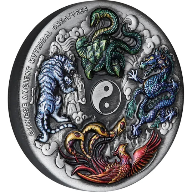 Тувалу монета 5 долларов Китайские древние мифические создания, реверс