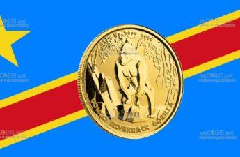 Демократическая Республики Конго монета 3000 франков КФА Горилла