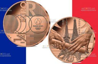 Франция монета 0,25 евро Передача олимпийской эстафеты Токио-Париж