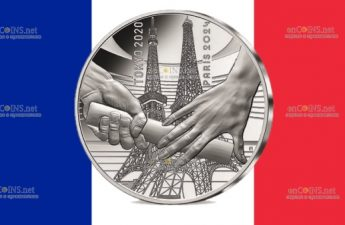 Франция монета 10 евро Передача олимпийской эстафеты Токио-Париж