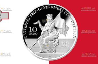 Мальта монета 10 евро 100 лет Конституции Мальты